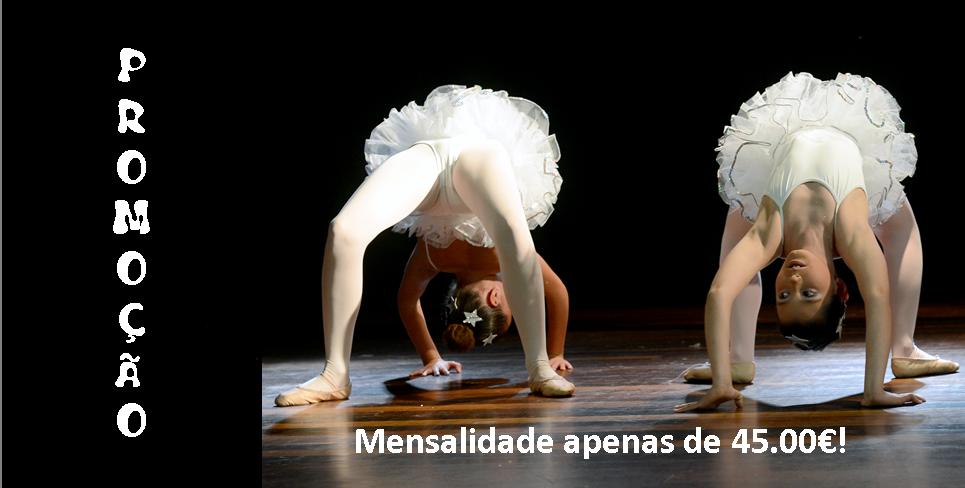 Na INSCRIÇÃO em 2 aulas de Ballet, 1 aula de Contemporâneo, 1 aula de Barra no Solo, 1 aula de Street Jazz e 1 aula de Arts & Crafts. a mensalidade será apenas de 45.00€!